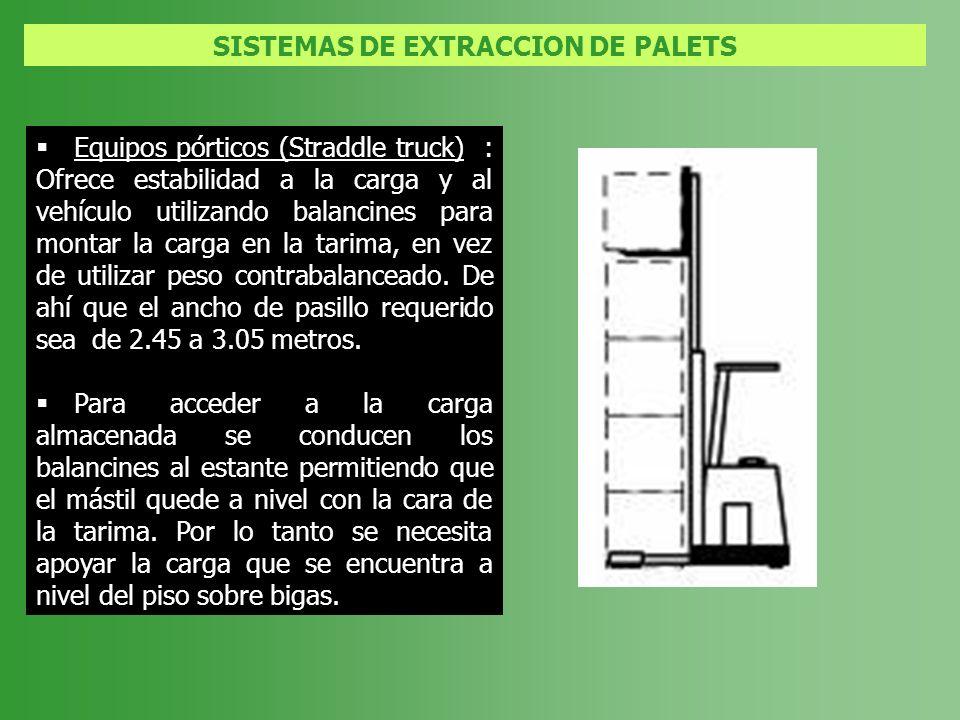 SISTEMAS DE EXTRACCION DE PALETS Equipos pórticos (Straddle truck) : Ofrece estabilidad a la carga y al vehículo utilizando balancines para montar la