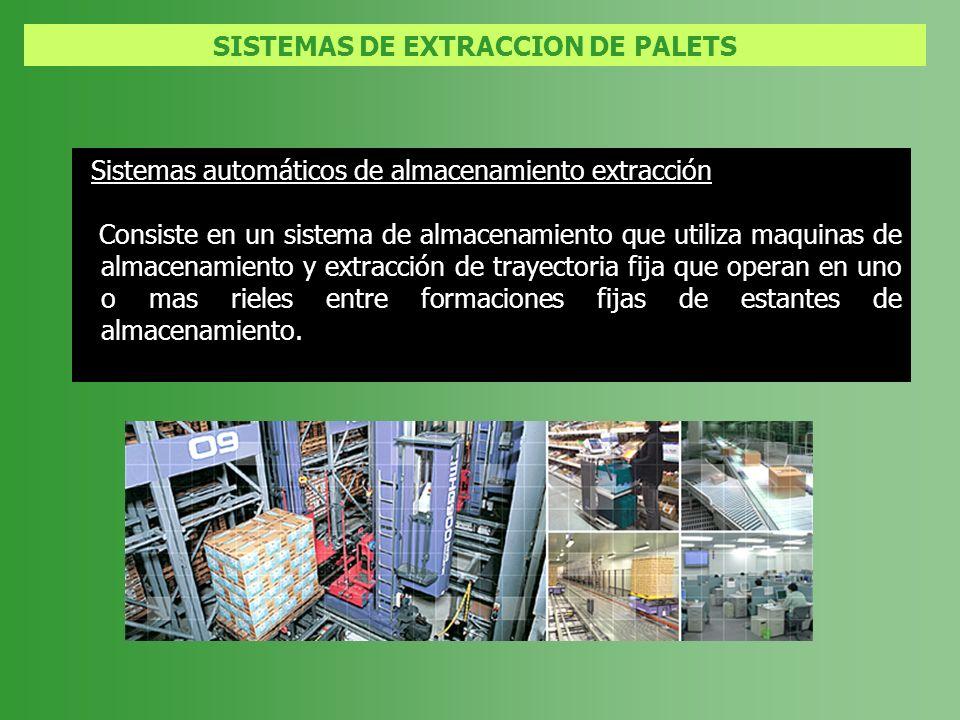 SISTEMAS DE EXTRACCION DE PALETS Sistemas automáticos de almacenamiento extracción Consiste en un sistema de almacenamiento que utiliza maquinas de al