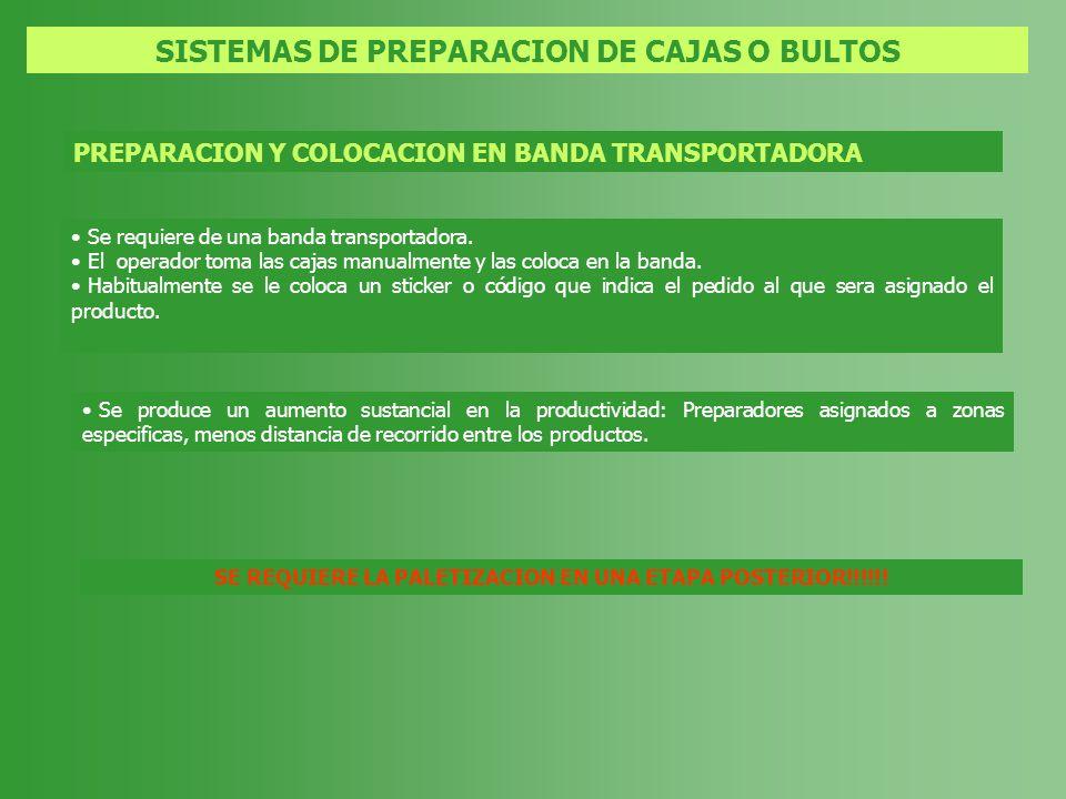 SISTEMAS DE PREPARACION DE CAJAS O BULTOS PREPARACION Y COLOCACION EN BANDA TRANSPORTADORA Se requiere de una banda transportadora. El operador toma l