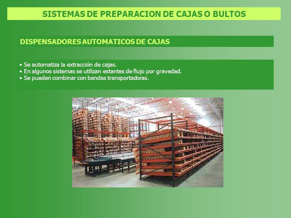 SISTEMAS DE PREPARACION DE CAJAS O BULTOS DISPENSADORES AUTOMATICOS DE CAJAS Se automatiza la extracción de cajas. En algunos sistemas se utilizan est