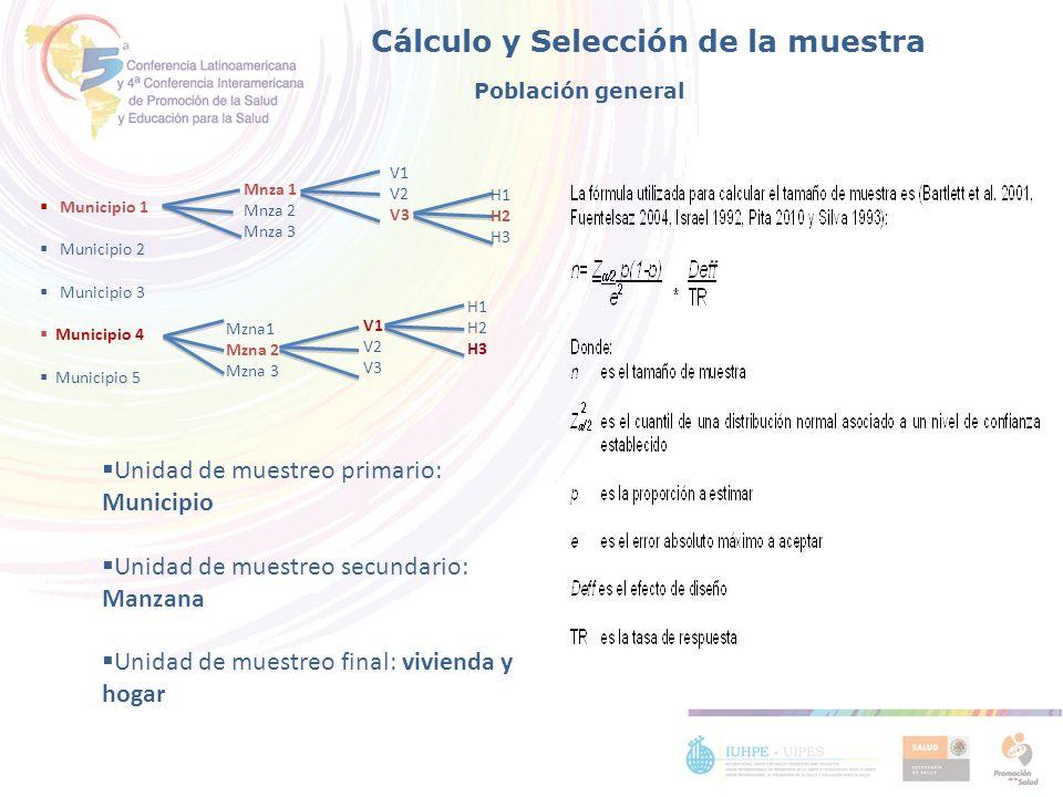 Cálculo y Selección de la muestra Unidad de muestreo primario: Municipio Unidad de muestreo secundario: Manzana Unidad de muestreo final: vivienda y h