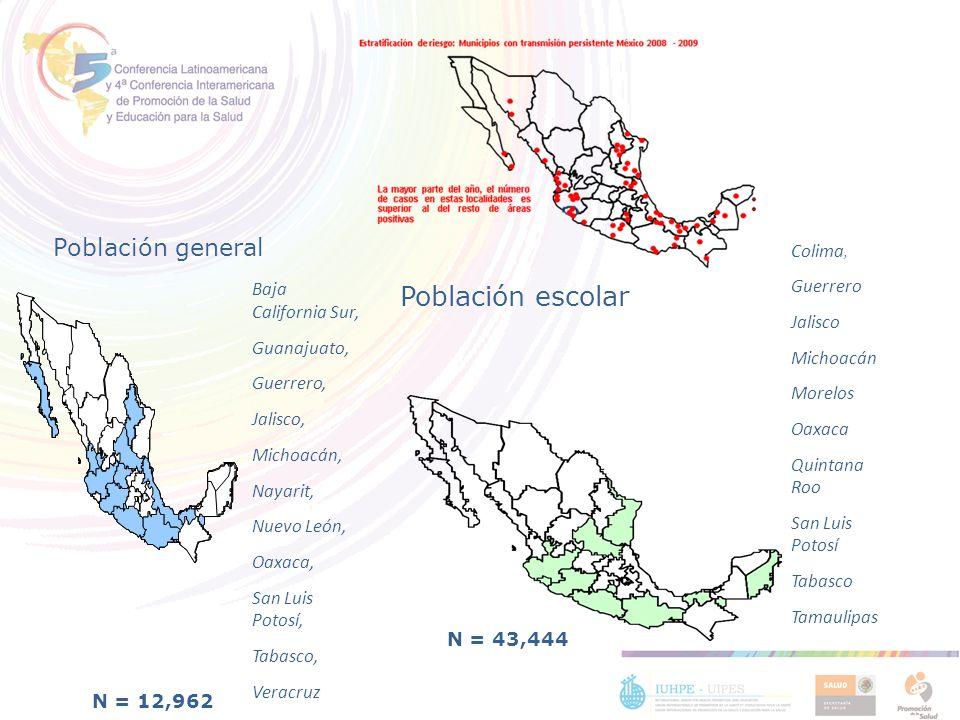 Baja California Sur, Guanajuato, Guerrero, Jalisco, Michoacán, Nayarit, Nuevo León, Oaxaca, San Luis Potosí, Tabasco, Veracruz N = 12,962 Población ge