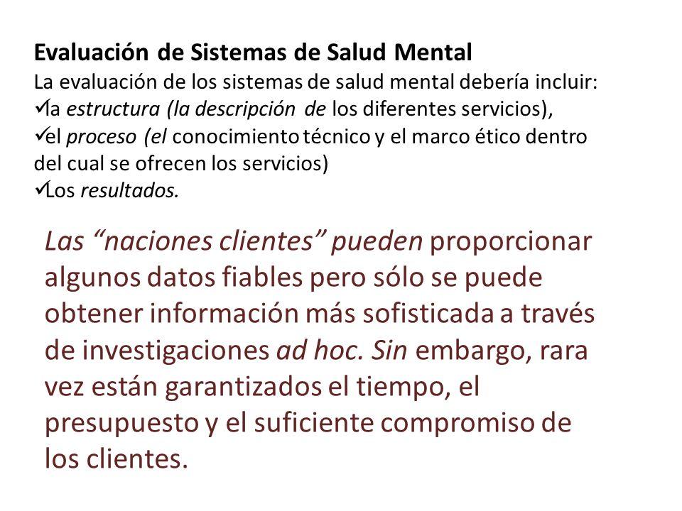Evaluación de Sistemas de Salud Mental La evaluación de los sistemas de salud mental debería incluir: la estructura (la descripción de los diferentes