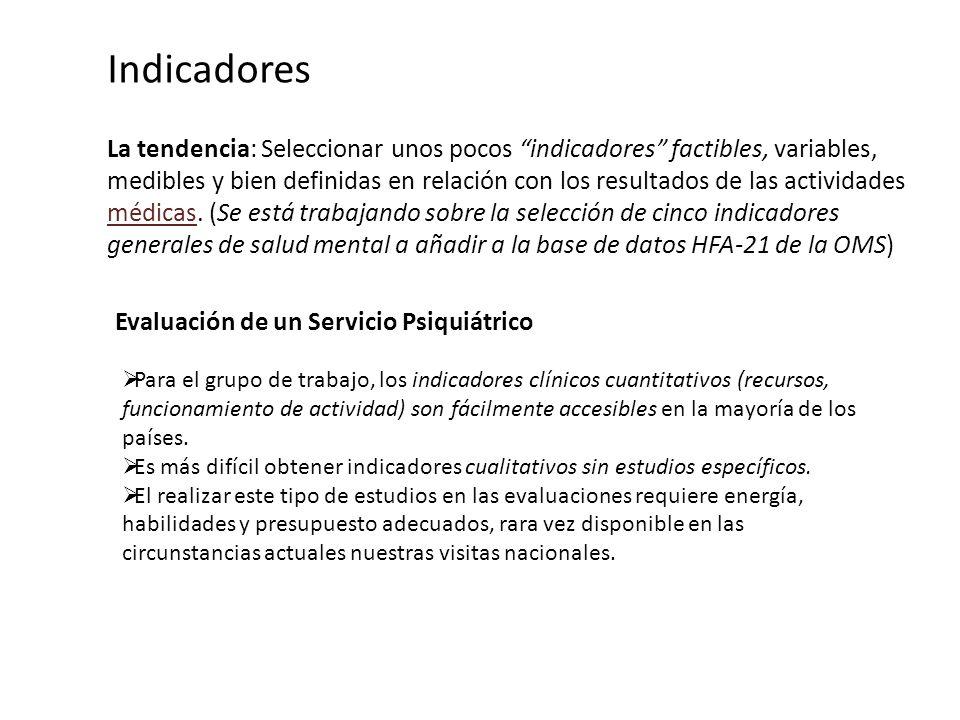Indicadores La tendencia: Seleccionar unos pocos indicadores factibles, variables, medibles y bien definidas en relación con los resultados de las act