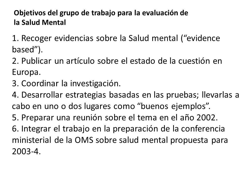 1. Recoger evidencias sobre la Salud mental (evidence based). 2. Publicar un artículo sobre el estado de la cuestión en Europa. 3. Coordinar la invest