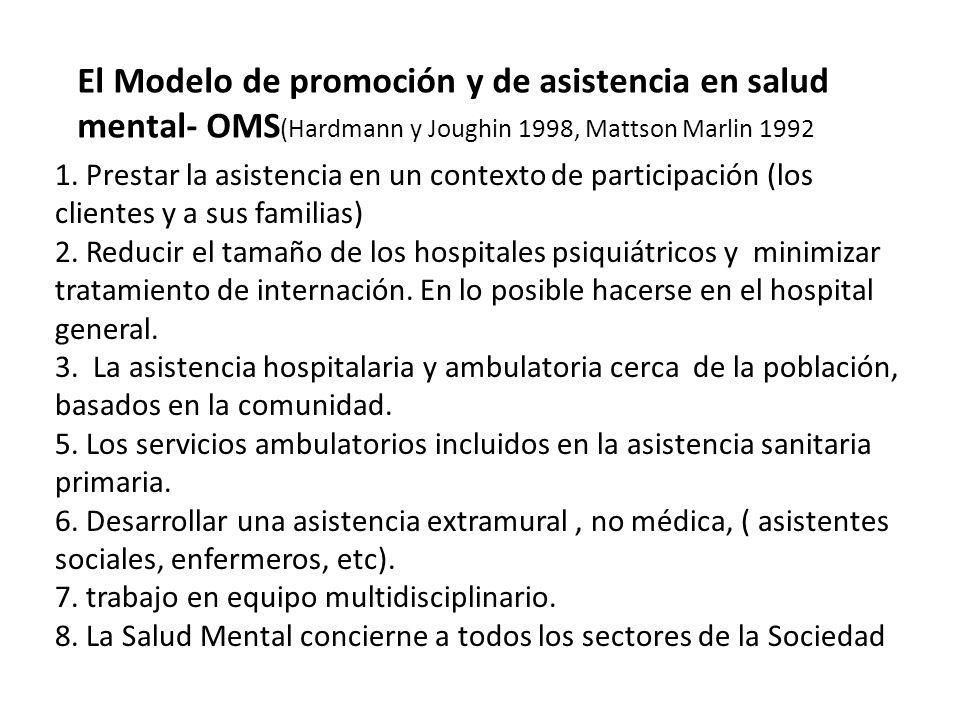 1. Prestar la asistencia en un contexto de participación (los clientes y a sus familias) 2. Reducir el tamaño de los hospitales psiquiátricos y minimi