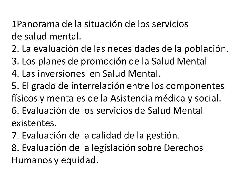 1Panorama de la situación de los servicios de salud mental. 2. La evaluación de las necesidades de la población. 3. Los planes de promoción de la Salu