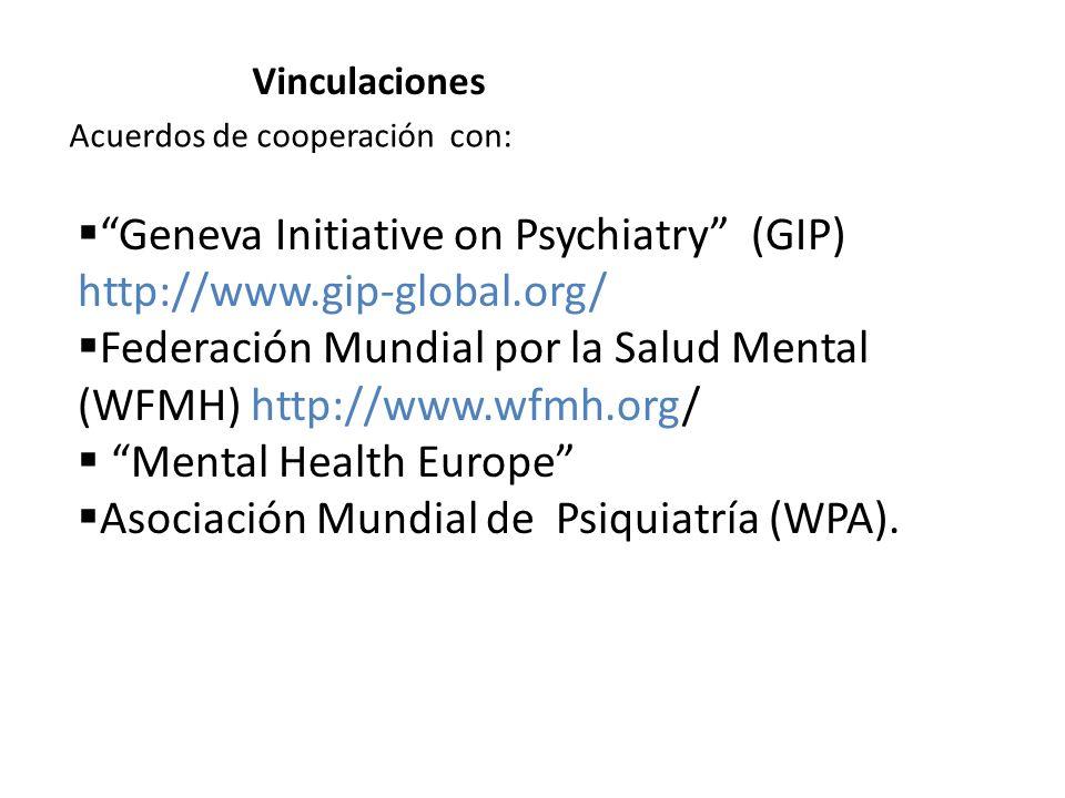 Acuerdos de cooperación con: Vinculaciones Geneva Initiative on Psychiatry (GIP) http://www.gip-global.org/ Federación Mundial por la Salud Mental (WF