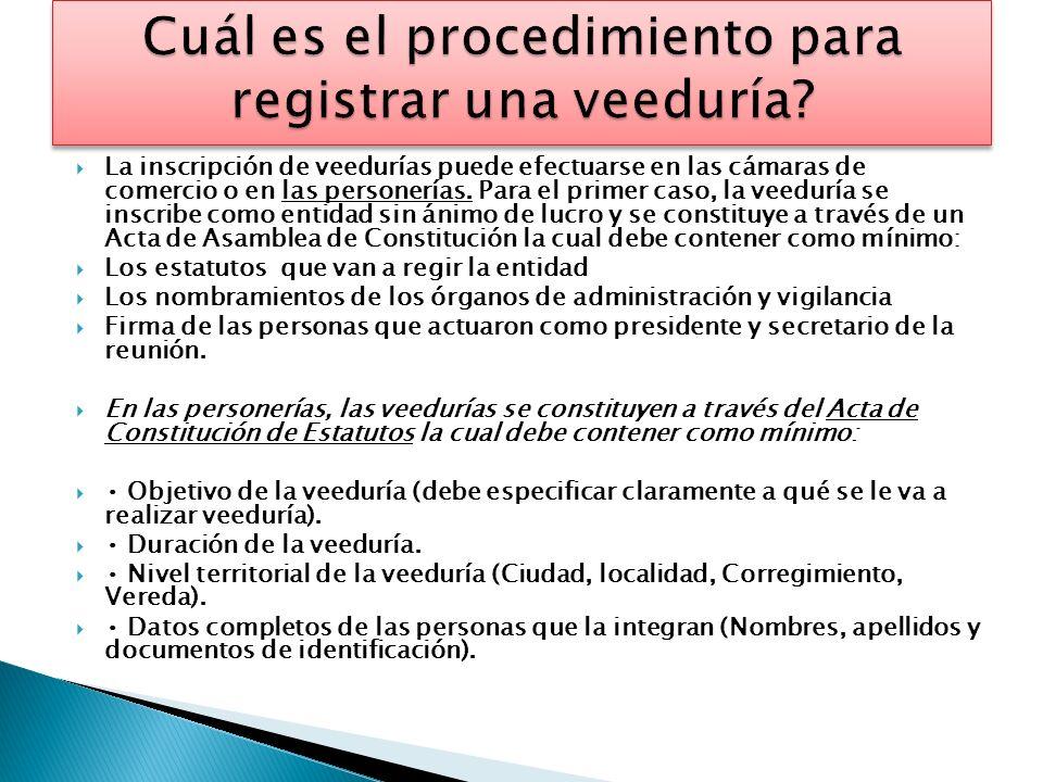 Elaborar un documento o acta de constitución en la cual conste el nombre de los integrantes, documento de identidad, el objeto de la vigilancia, nivel territorial, duración y lugar de residencia.