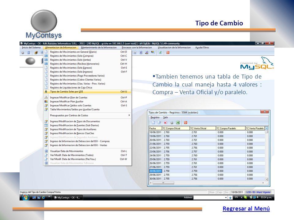 MyContsys MyContsys Tipo de Cambio Tambien tenemos una tabla de Tipo de Cambio la cual maneja hasta 4 valores : Compra – Venta Oficial y/o paralelo.