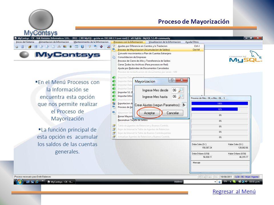 MyContsys MyContsys Proceso de Mayorización En el Menú Procesos con la Información se encuentra esta opción que nos permite realizar el Proceso de Mayorización La función principal de esta opción es acumular los saldos de las cuentas generales.