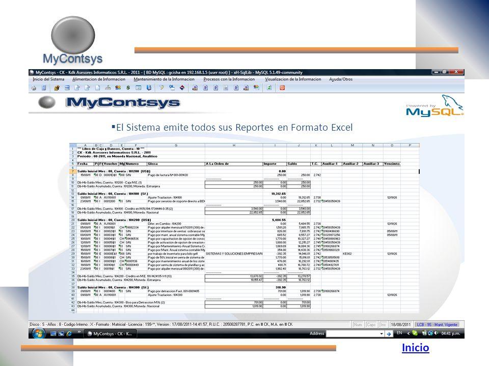 MyContsys MyContsys El Sistema emite todos sus Reportes en Formato Excel Inicio