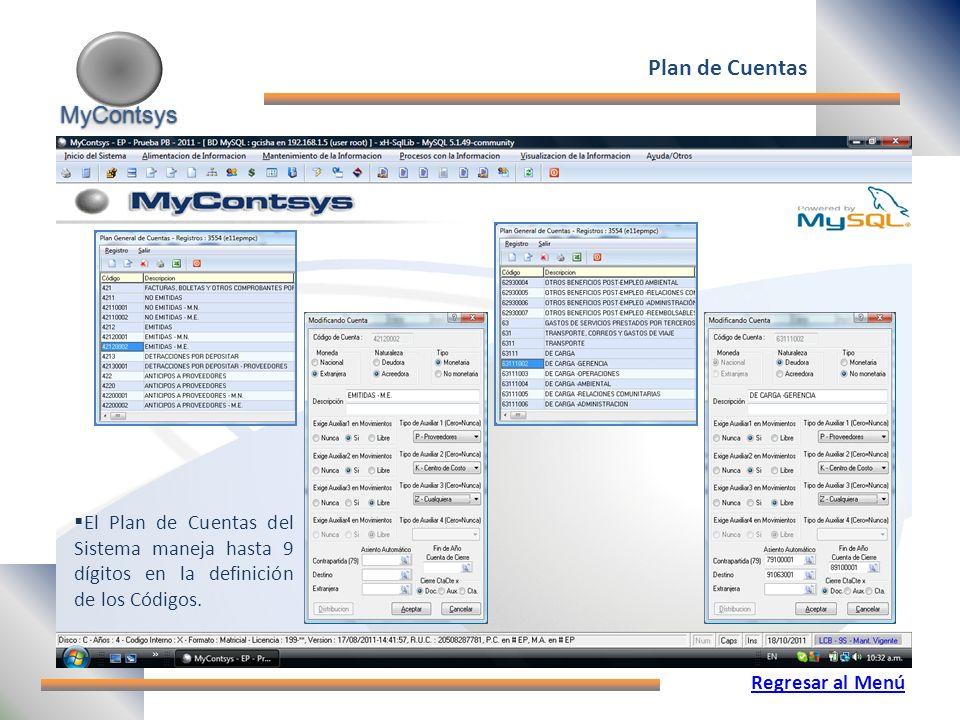 MyContsys MyContsys Plan de Cuentas El Plan de Cuentas del Sistema maneja hasta 9 dígitos en la definición de los Códigos.