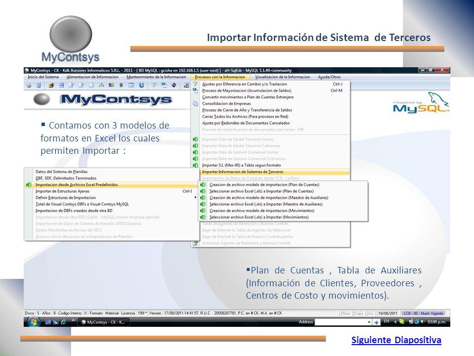 MyContsys MyContsys Plan de Cuentas, Tabla de Auxiliares (Información de Clientes, Proveedores, Centros de Costo y movimientos).