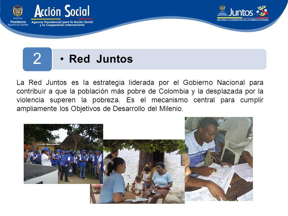 Red Juntos 2 La Red Juntos es la estrategia liderada por el Gobierno Nacional para contribuir a que la población más pobre de Colombia y la desplazada por la violencia superen la pobreza.