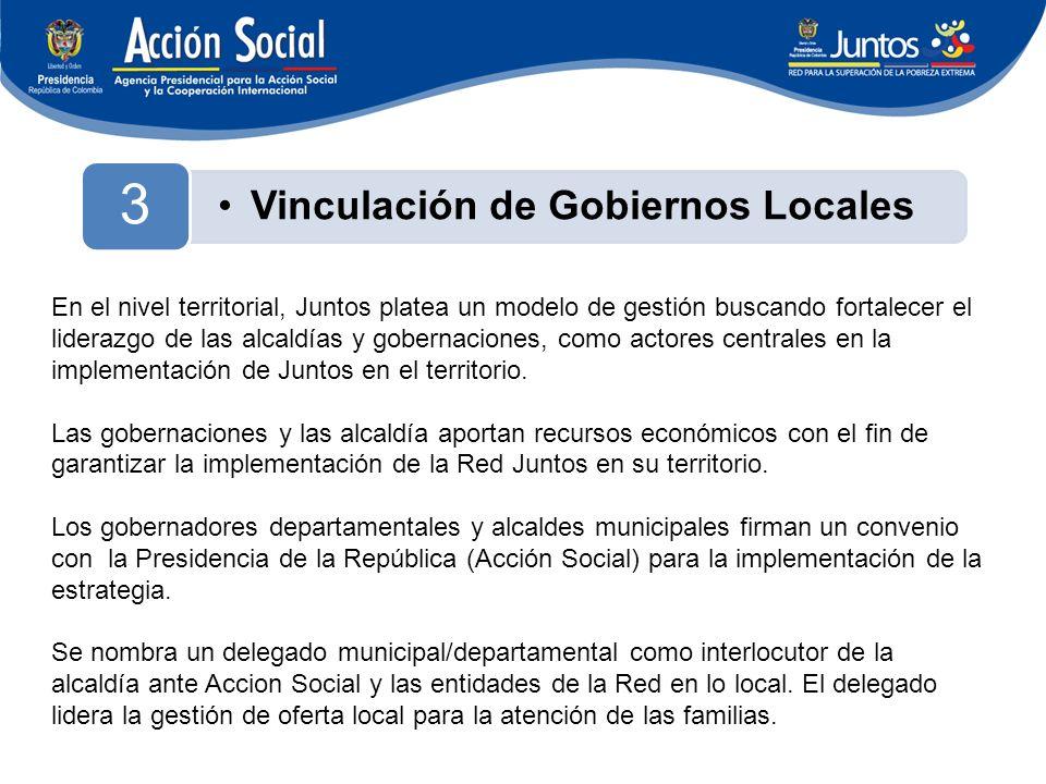 Vinculación de Gobiernos Locales 3 En el nivel territorial, Juntos platea un modelo de gestión buscando fortalecer el liderazgo de las alcaldías y gobernaciones, como actores centrales en la implementación de Juntos en el territorio.