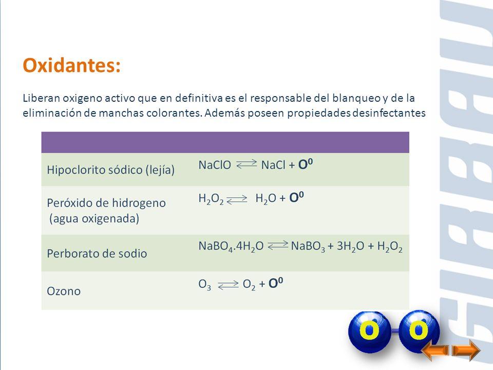 Oxidantes: Liberan oxigeno activo que en definitiva es el responsable del blanqueo y de la eliminación de manchas colorantes. Además poseen propiedade