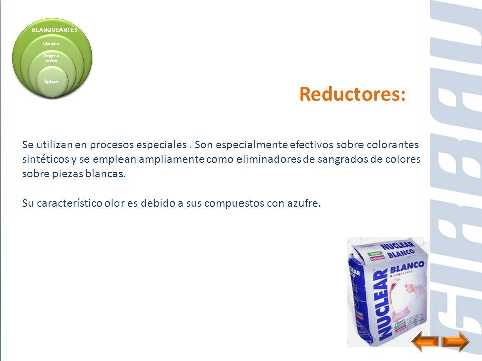Reductores: Se utilizan en procesos especiales. Son especialmente efectivos sobre colorantes sintéticos y se emplean ampliamente como eliminadores de