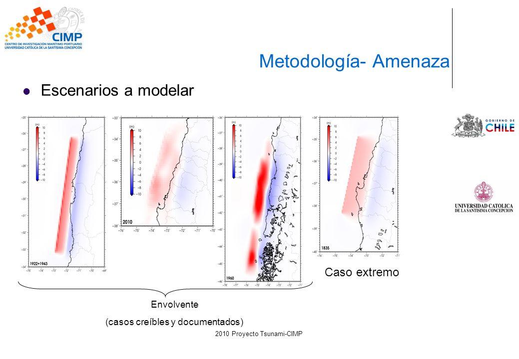 Escenarios a modelar Metodología- Amenaza Envolvente (casos creíbles y documentados) Caso extremo 2010 Proyecto Tsunami-CIMP