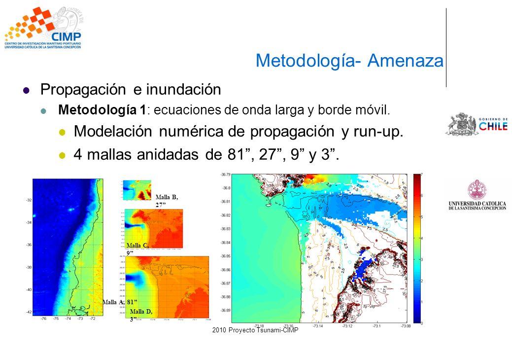Propagación e inundación Metodología 1: ecuaciones de onda larga y borde móvil. Modelación numérica de propagación y run-up. 4 mallas anidadas de 81,