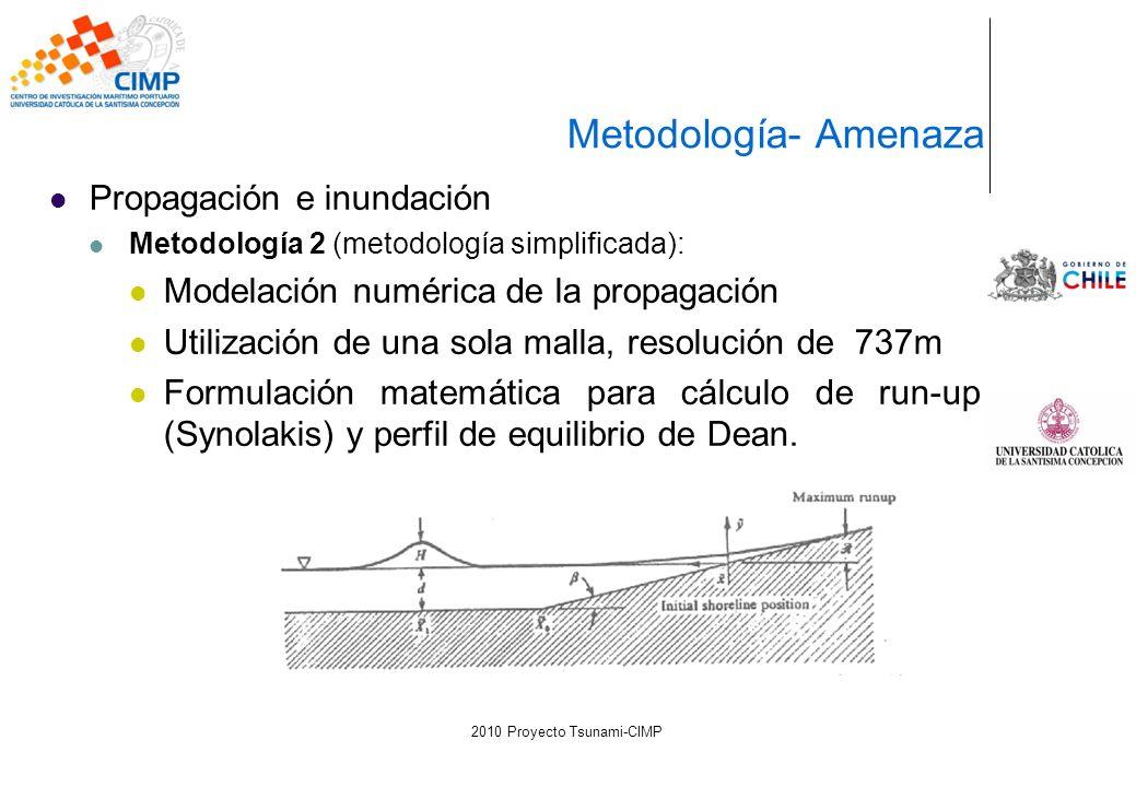 Propagación e inundación Metodología 2 (metodología simplificada): Modelación numérica de la propagación Utilización de una sola malla, resolución de