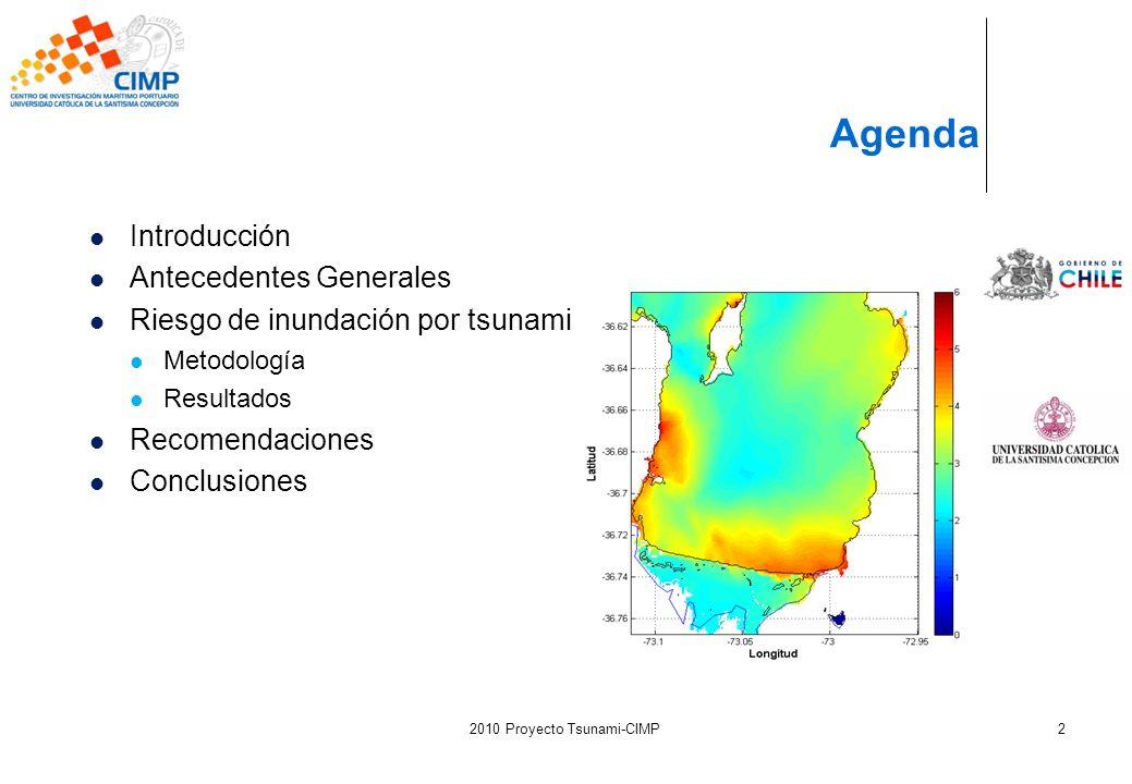 2010 Proyecto Tsunami-CIMP2 Agenda Introducción Antecedentes Generales Riesgo de inundación por tsunami Metodología Resultados Recomendaciones Conclus