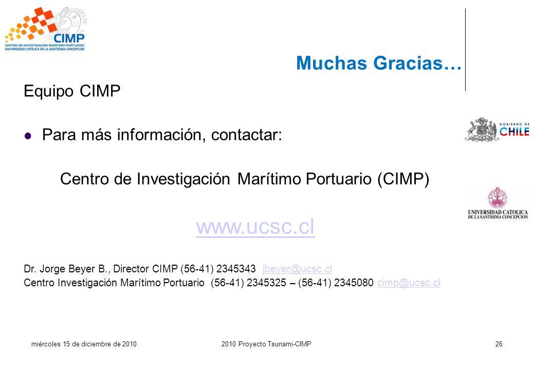 miércoles 15 de diciembre de 20102010 Proyecto Tsunami-CIMP26 Muchas Gracias… Equipo CIMP Para más información, contactar: Centro de Investigación Mar
