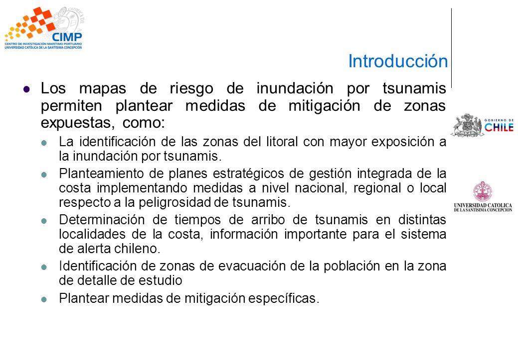 Los mapas de riesgo de inundación por tsunamis permiten plantear medidas de mitigación de zonas expuestas, como: La identificación de las zonas del li