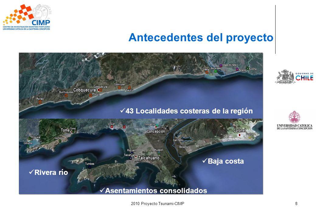 2010 Proyecto Tsunami-CIMP8 Antecedentes del proyecto 43 Localidades costeras de la región Asentamientos consolidados Baja costa Rivera río