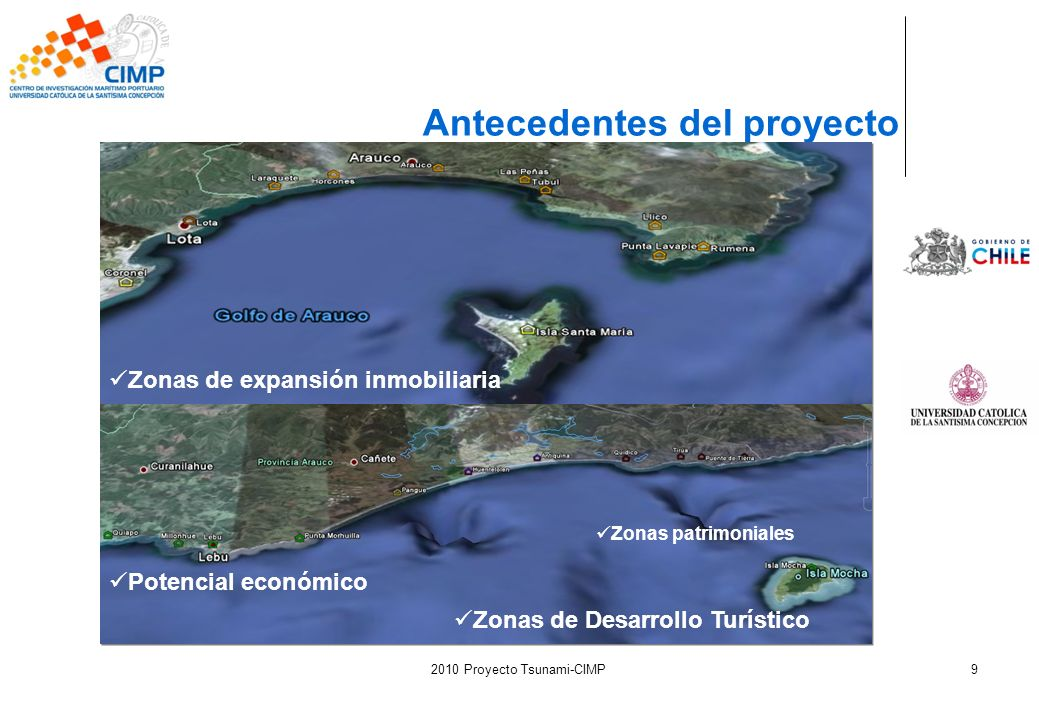 2010 Proyecto Tsunami-CIMP9 Antecedentes del proyecto Zonas de expansión inmobiliaria Zonas de Desarrollo Turístico Potencial económico Zonas patrimon
