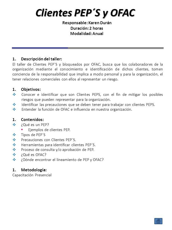 1.Descripción del taller: El taller reportes según Ley 8204 (RAI, ROE, ROM, ROS), pretende mostrar al colaborador la forma de identificar clientes cuy