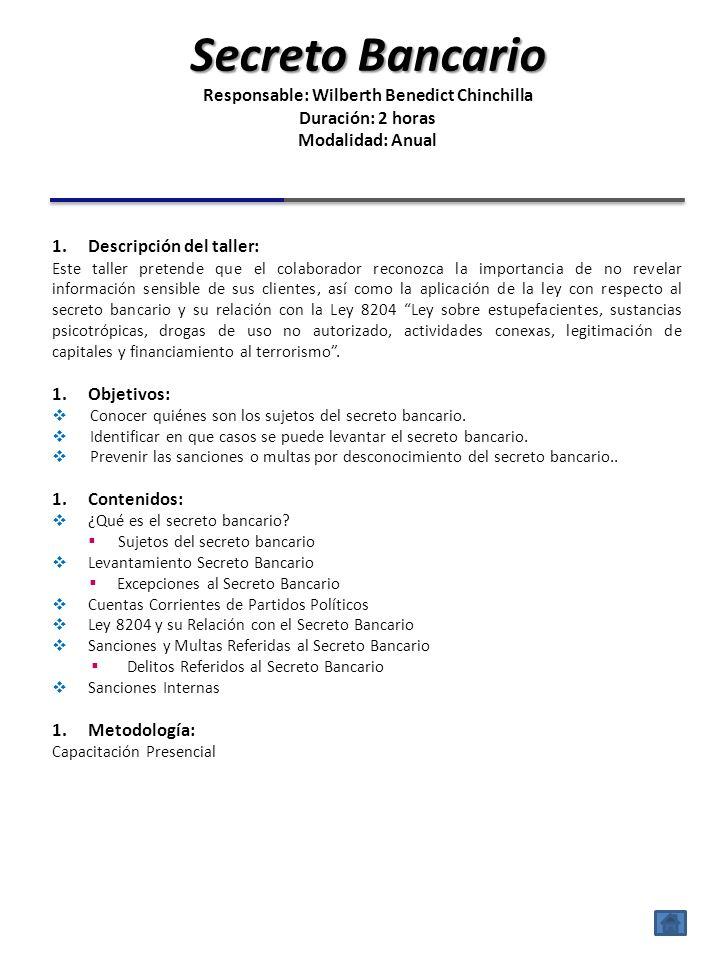 1.Descripción del taller: El taller Ley 8968: Protección de la Persona Frente al Tratamiento de sus Datos Personales, pretende mostrar al colaborador