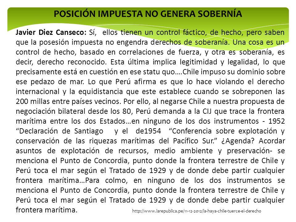 http://www.larepublica.pe/11-12-2012/la-haya-chile-tuerce-el-derecho Javier Diez Canseco: Sí, ellos tienen un control fáctico, de hecho, pero saben qu