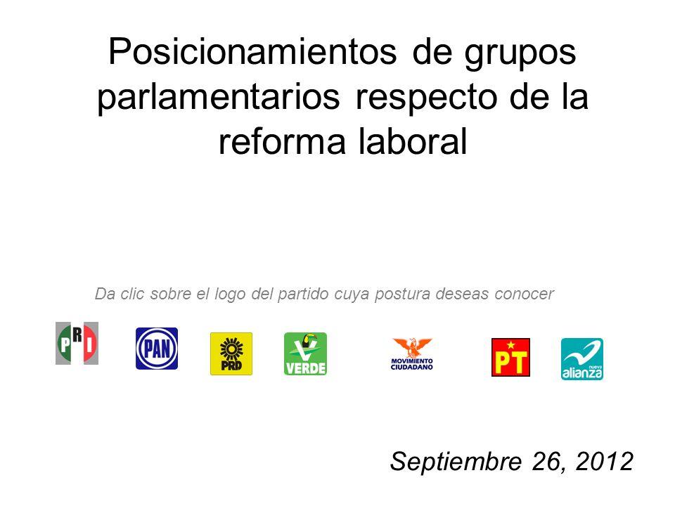 Posicionamientos de grupos parlamentarios respecto de la reforma laboral Septiembre 26, 2012 Da clic sobre el logo del partido cuya postura deseas conocer