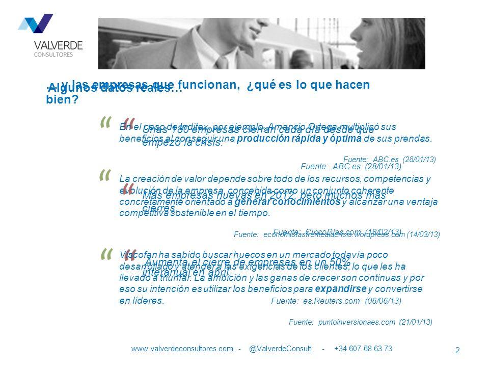 Podemos afirmar que: 3 www.valverdeconsultores.com - @ValverdeConsult - +34 607 68 63 73 no es posible mejorar, si los PROCESOS no están estandarizados, ni se mejoran permanentemente.