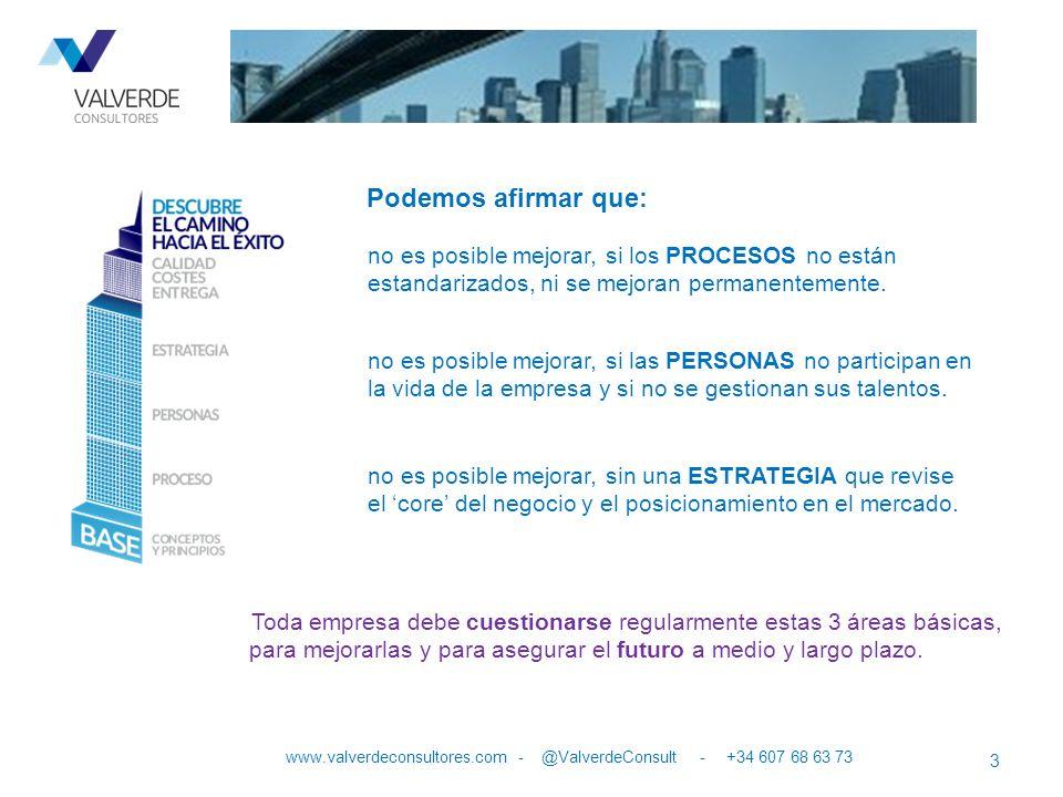 Podemos afirmar que: 3 www.valverdeconsultores.com - @ValverdeConsult - +34 607 68 63 73 no es posible mejorar, si los PROCESOS no están estandarizado