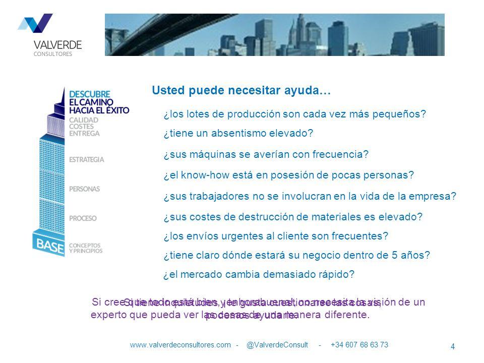Usted puede necesitar ayuda… 4 www.valverdeconsultores.com - @ValverdeConsult - +34 607 68 63 73 ¿los lotes de producción son cada vez más pequeños? ¿