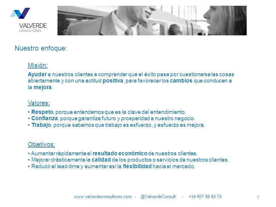 7 www.valverdeconsultores.com - @ValverdeConsult - +34 607 68 63 73 Nuestro enfoque: Misión: Ayudar a nuestros clientes a comprender que el éxito pasa