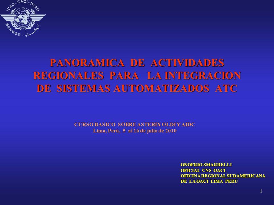 1 PANORAMICA DE ACTIVIDADES REGIONALES PARA LA INTEGRACION DE SISTEMAS AUTOMATIZADOS ATC CURSO BASICO SOBRE ASTERIX OLDI Y AIDC Lima, Perú, 5 al 16 de