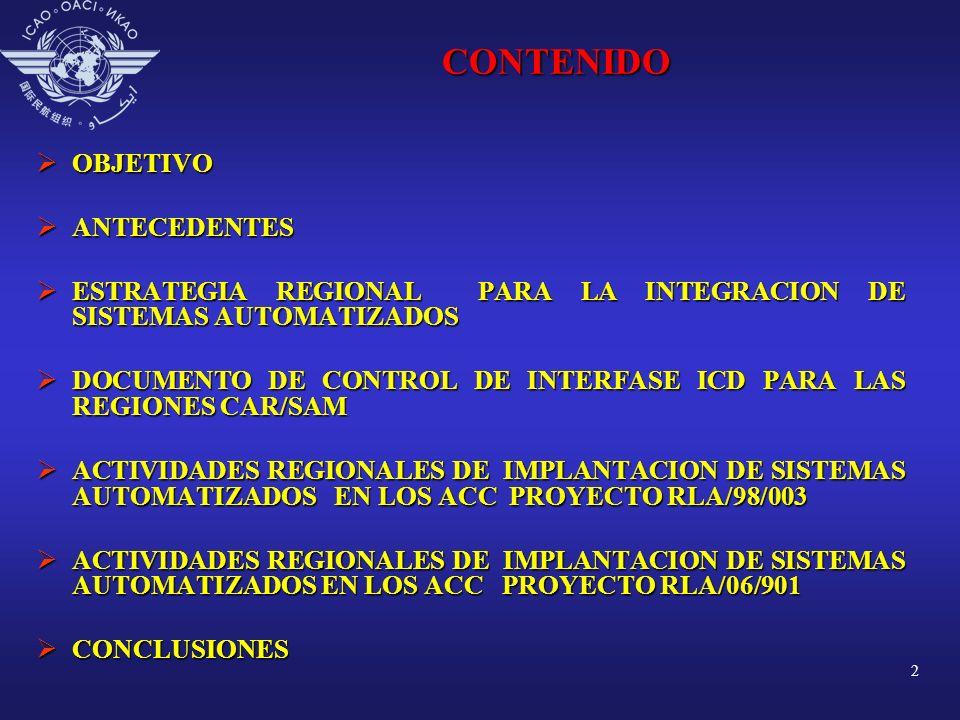 2CONTENIDO OBJETIVO OBJETIVO ANTECEDENTES ANTECEDENTES ESTRATEGIA REGIONAL PARA LA INTEGRACION DE SISTEMAS AUTOMATIZADOS ESTRATEGIA REGIONAL PARA LA I