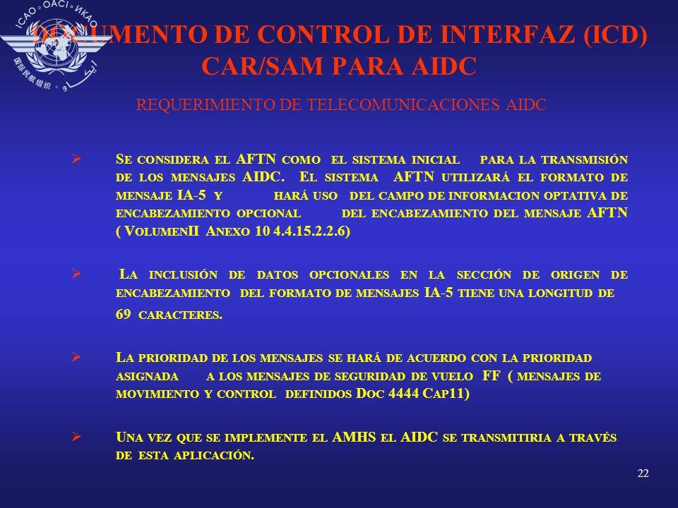22 DOCUMENTO DE CONTROL DE INTERFAZ (ICD) CAR/SAM PARA AIDC REQUERIMIENTO DE TELECOMUNICACIONES AIDC S E CONSIDERA EL AFTN COMO EL SISTEMA INICIAL PAR