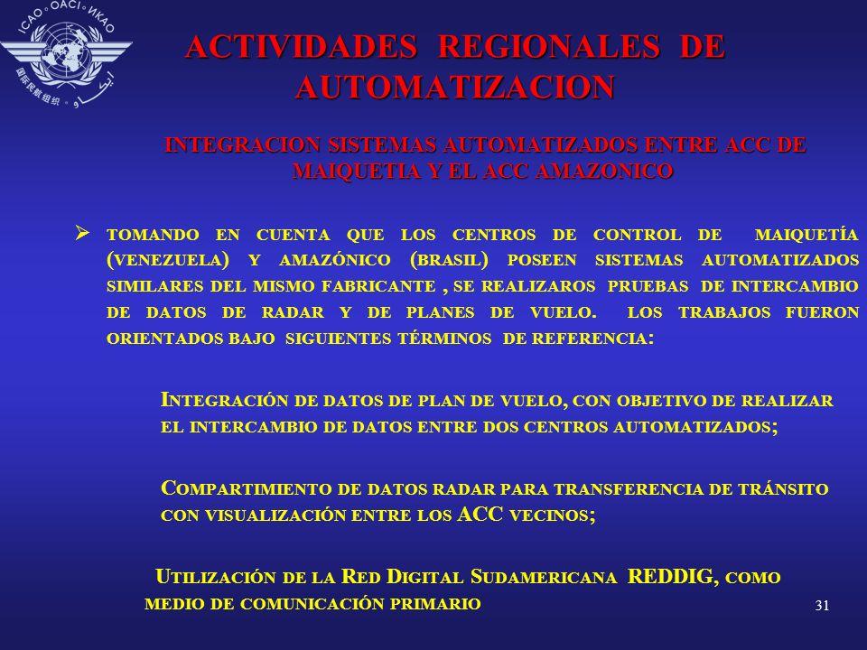 31 ACTIVIDADES REGIONALES DE AUTOMATIZACION INTEGRACION SISTEMAS AUTOMATIZADOS ENTRE ACC DE MAIQUETIA Y EL ACC AMAZONICO INTEGRACION SISTEMAS AUTOMATI