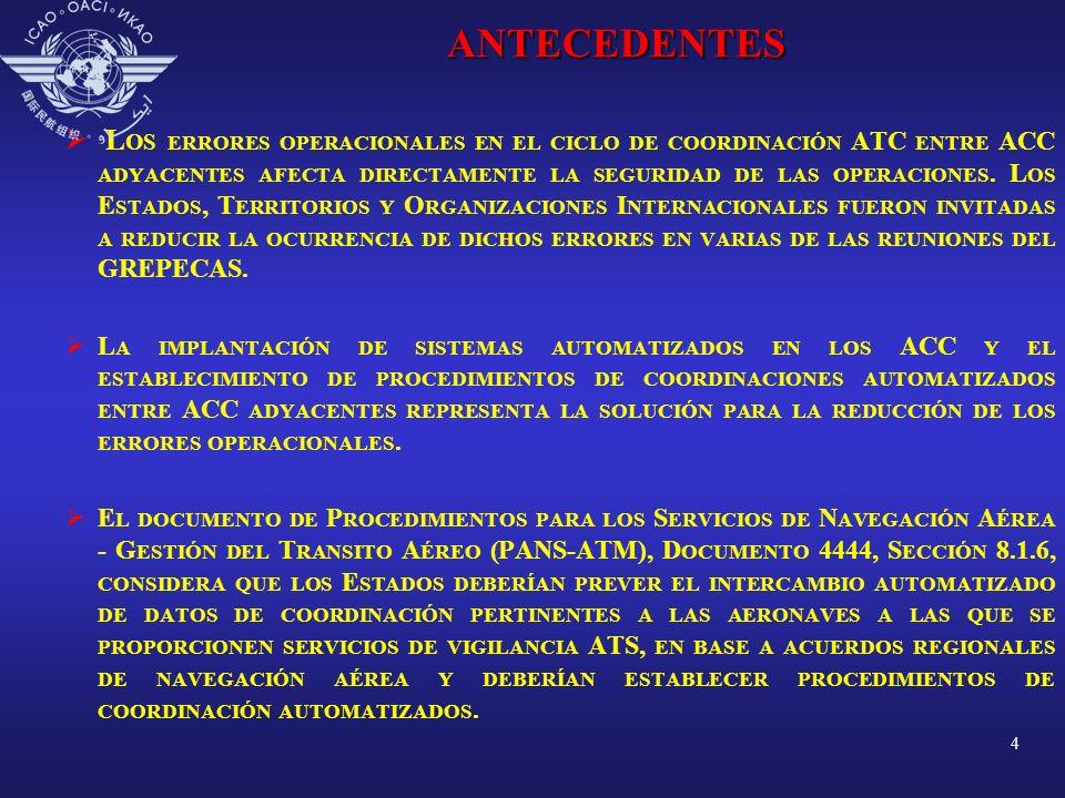 5ANTECEDENTES L A REUNIÓN GREPECAS/12, CON EL FIN DE ARMONIZAR LA INTEGRACIÓN DE SISTEMAS AUTOMATIZADOS ATM FORMULÓ LA C ONCLUSIÓN 12/31 - E STRATEGIA REGIONAL PARA LA INTEGRACIÓN DE LOS SISTEMAS AUTOMATIZADOS, EN LA CUAL SE INSTA A LOS E STADOS DE LAS R EGIONES CAR/SAM QUE, EN COORDINACIÓN CON LAS O FICINAS R EGIONALES DE LA OACI, DEFINIERAN PLANES DE ACCIÓN PARA LA INTEGRACIÓN TOMANDO EN CUENTA LAS ORIENTACIONES PARA UNA ESTRATEGIA DE INTEGRACIÓN DE LOS SISTEMAS AUTOMATIZADOS ATM.