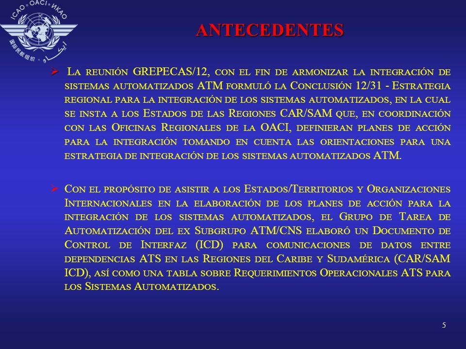 6 ANTECEDENTES LA REUNIÓN GREPECAS/14 FORMULÓ LAS CONCLUSIÓN 14/43 - ACUERDOS PARA INTERFAZ DE LOS SISTEMAS AUTOMATIZADOS Y LA CONCLUSIÓN 14/44 - ESTABLECIMIENTO DE UN PLAN DE ACCIÓN PARA LA INTERFAZ DE LOS SISTEMAS AUTOMATIZADOS ATM CON EL PROPÓSITO DE QUE LOS ESTADOS, TERRITORIOS Y ORGANIZACIONES INTERNACIONALES UTILICEN EL DOCUMENTO DE CONTROL DE INTERFASE ICD Y ESTABLEZCAN EL PLAN DE ACCIÓN PARA LA INTERCONEXIÓN DE SISTEMAS AUTOMATIZADOS.