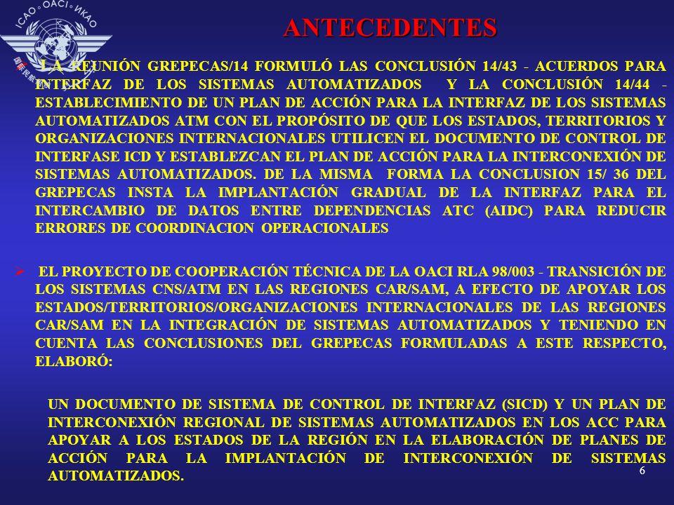 7 ANTECEDENTES E L P LAN M UNDIAL DE N AVEGACIÓN A ÉREA PARA LA IMPLANTACIÓN DE LA ATM MUNDIAL CONSIDERA LA NECESIDAD DE IMPLANTAR UN CONJUNTO DE INICIATIVAS Y, ENTRE ESTAS INICIATIVAS PARA LA INTEGRACIÓN DE SISTEMAS AUTOMATIZADOS SE TIENE LA IPM 9 ORIENTADA A LA CONCIENCIA SITUACIONAL, LA IPM-17 ORIENTADA A LA IMPLANTACIÓN DE APLICACIONES DE ENLACES DE DATOS Y LA IPM-22, ORIENTADA A LA IMPLANTACIÓN DE REDES DE COMUNICACIONES EFICIENTES PARA SOPORTAR LA APLICACIÓN DE ENLACES DE DATOS.