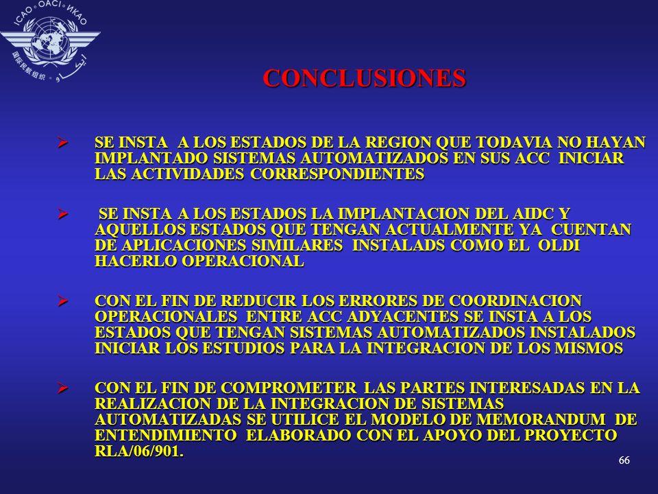 66 CONCLUSIONES SE INSTA A LOS ESTADOS DE LA REGION QUE TODAVIA NO HAYAN IMPLANTADO SISTEMAS AUTOMATIZADOS EN SUS ACC INICIAR LAS ACTIVIDADES CORRESPO