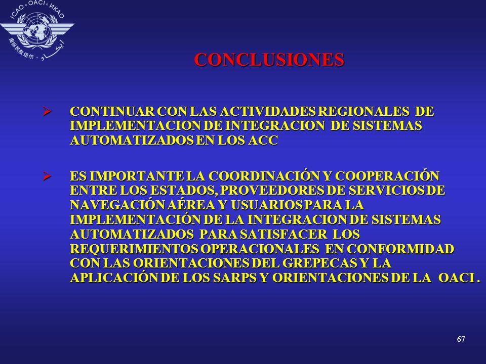 67 CONCLUSIONES CONTINUAR CON LAS ACTIVIDADES REGIONALES DE IMPLEMENTACION DE INTEGRACION DE SISTEMAS AUTOMATIZADOS EN LOS ACC CONTINUAR CON LAS ACTIV
