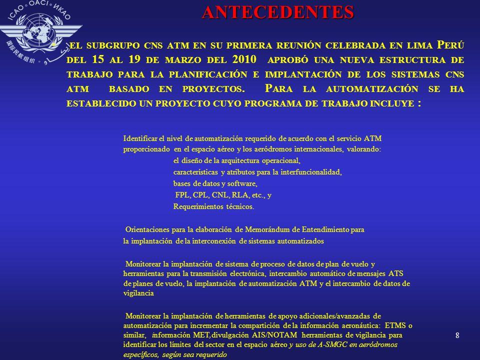 8 ANTECEDENTES EL SUBGRUPO CNS ATM EN SU PRIMERA REUNIÓN CELEBRADA EN LIMA P ERÚ DEL 15 AL 19 DE MARZO DEL 2010 APROBÓ UNA NUEVA ESTRUCTURA DE TRABAJO