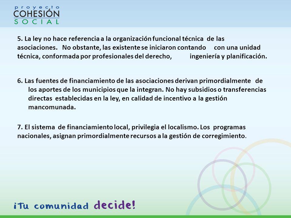 5. La ley no hace referencia a la organización funcional técnica de las asociaciones.