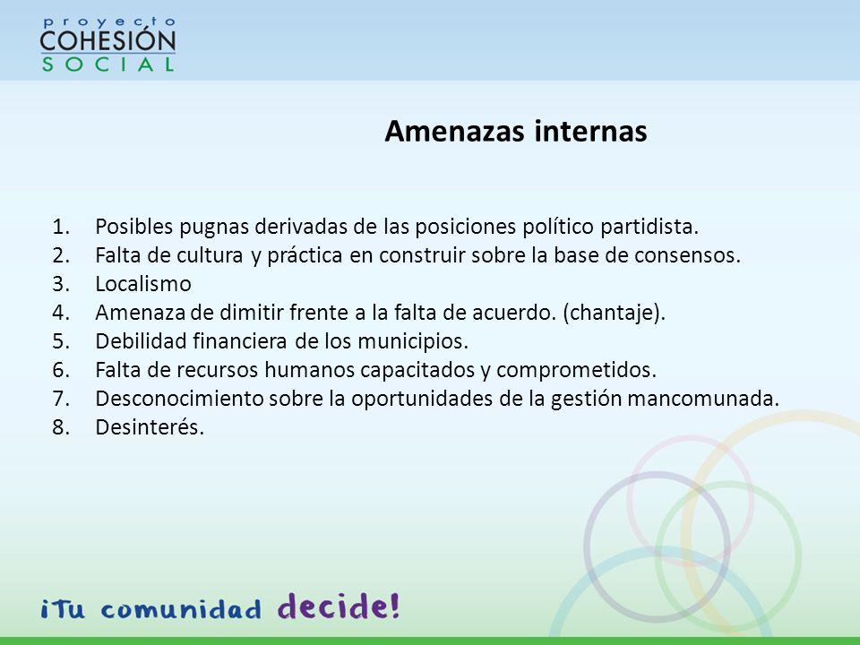 Amenazas internas 1.Posibles pugnas derivadas de las posiciones político partidista.
